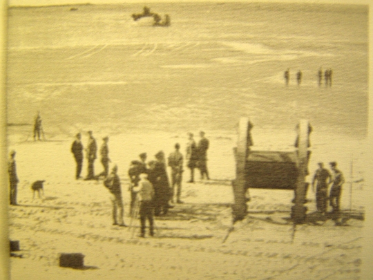 The Panjandrum on the beach at Instow, Devon 1942 after being launched from its landing craft. Note the cine cameraman who fled for his life during one of Panjandrum's erratic trials. Nevil Shute was present at all trials so is probably in the picture